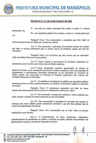 Coronavírus: Prefeitura de Mariápolis reedita Decreto e amplia medidas