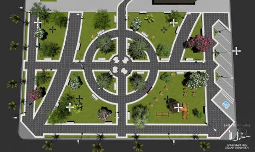 Projeto em 3D da Praça Frei Dionisio Antonio Marinelli desenvolvido pela engenheira civil Ingrid Romanini