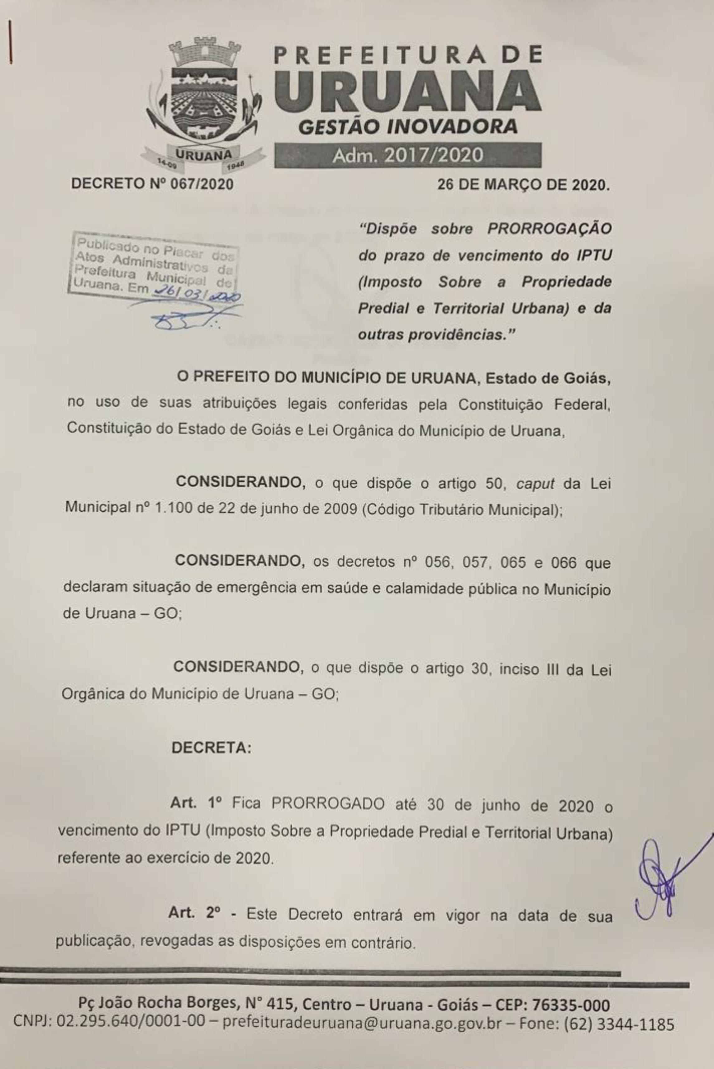 Decreto 067/2020