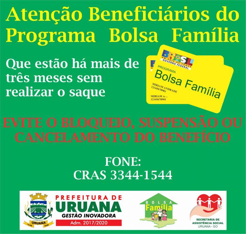 ATENÇÃO BENEFICÍARIOS DO BOLSA FAMILIA