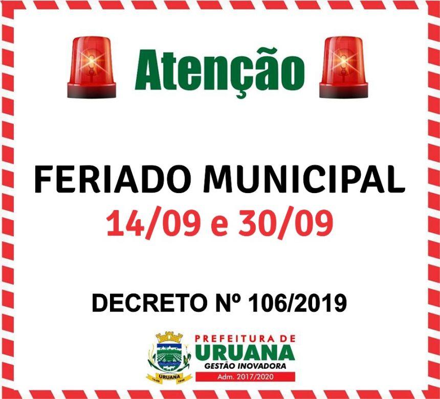 Fique ligados aos proximos feriados municipais!!