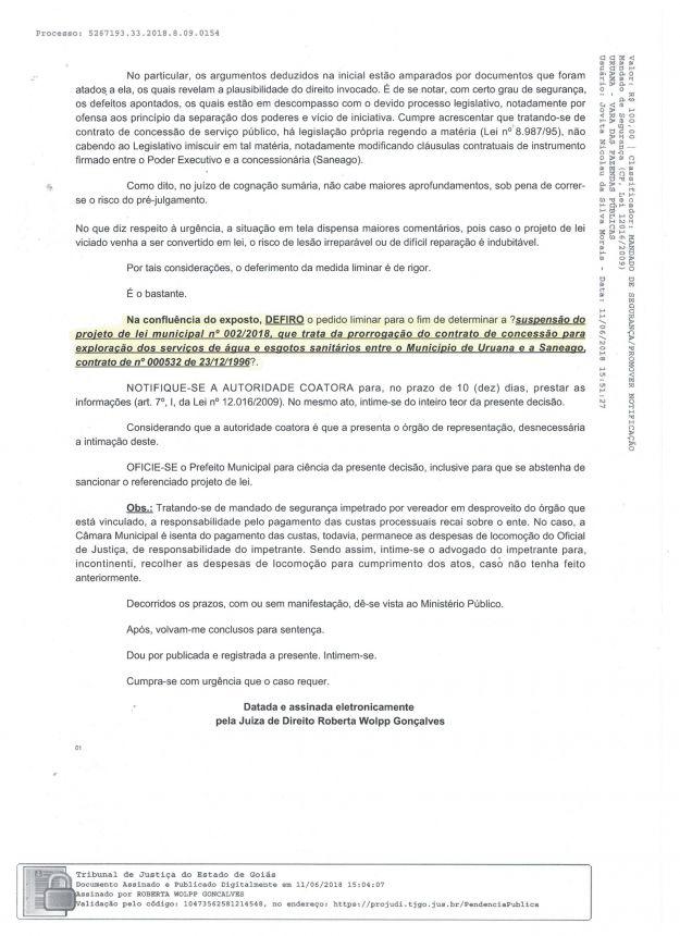 JUÍZA SUSPENDE PROJETO DE LEI DE AUTORIA DO PRESIDENTE DA CÂMARA MUNICIPAL DE URUANA.