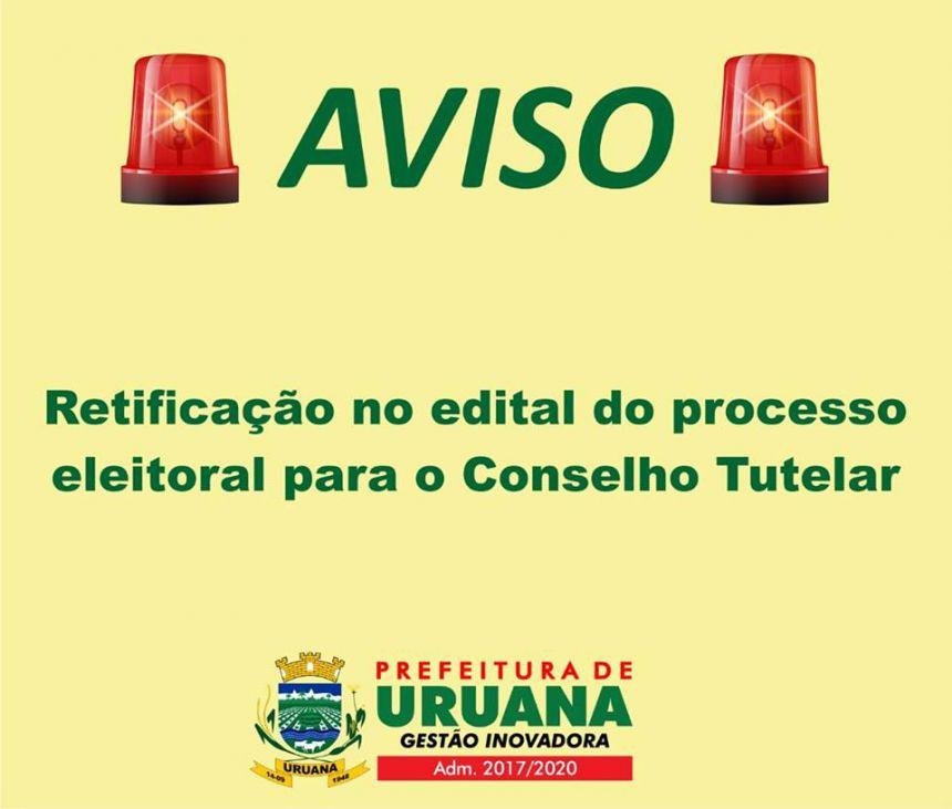 Retificação no Edital do Processo Eleitoral para o Conselho Tutelar