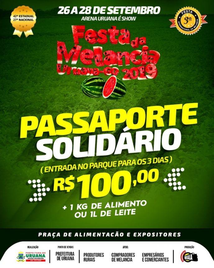 Passaporte solidário para a Festa da Melancia 2019!