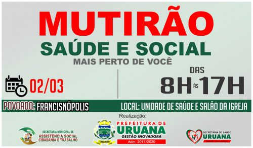 "SEGUNDA ETAPA DE MUTIRÃO ACONTECE NESTA SEXTA-FEIRA (2) ""NA LAGOA"""