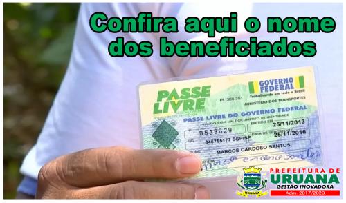SECRETARIA DIVULGA LISTA DE BENEFICIADOS COM CARTEIRA DE PASSE LIVRE