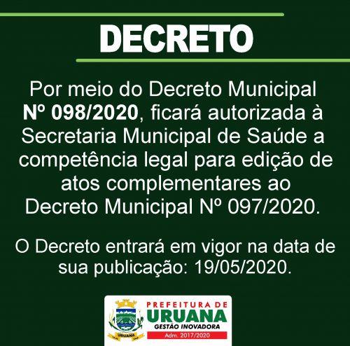 Decreto Municipal Nº 098/2020