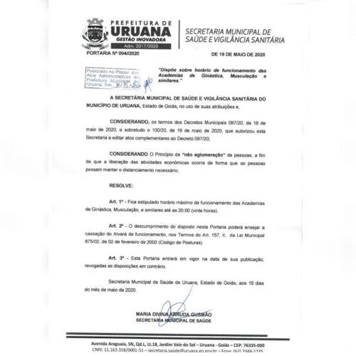 Portaria Nº 004/2020 - Secretaria Municipal de Saúde