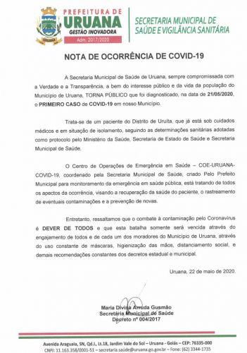 Nota de Ocorrência de Covid-19