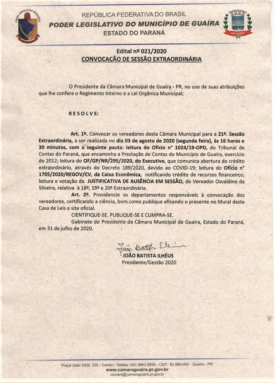 21ª SESSÃO EXTRAORDINÁRIA DA CÂMARA ESTÁ MARCADA PARA SEGUNDA (03)