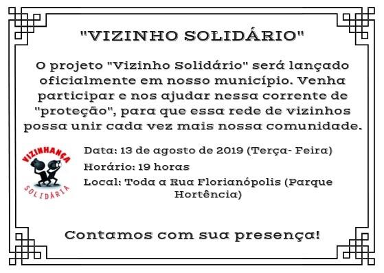 """AMANHÃ (13) SERÁ LANÇADO O PROJETO """"VIZINHO SOLIDÁRIO"""" NO PARQUE HORTÊNCIA"""