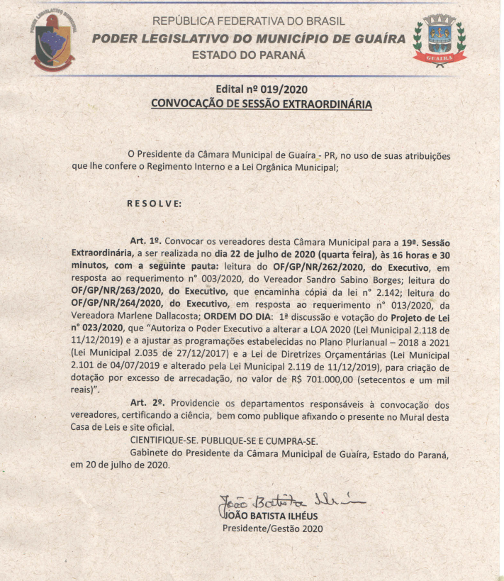CONFIRA A PAUTA DA 19ª SESSÃO EXTRAORDINÁRIA, CONVOCADA PARA AMANHÃ (22) ÀS 16H30