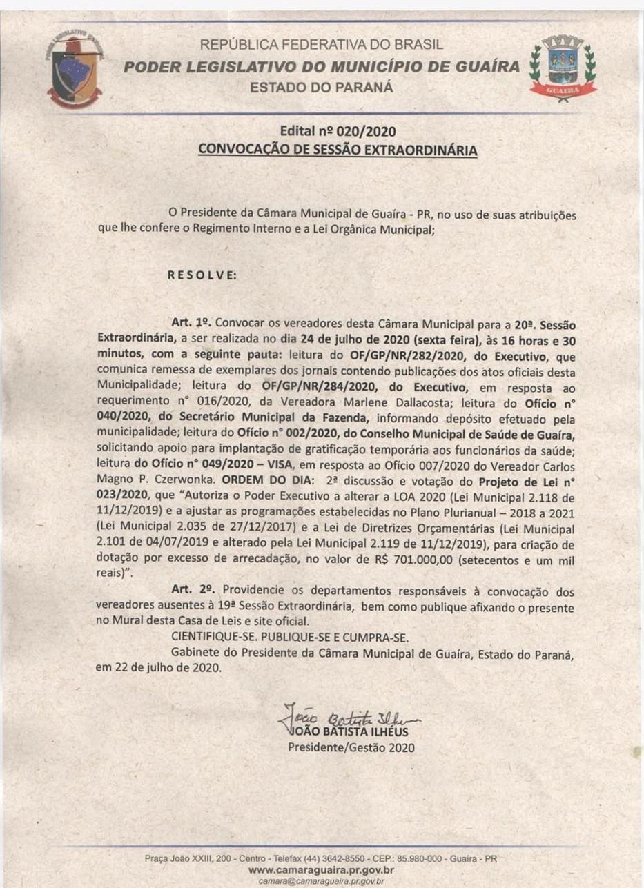 CÂMARA REALIZARÁ AMANHÃ (24) ÀS 16H30 A 20ª SESSÃO EXTRAORDINÁRIA. CONFIRA A PAUTA!