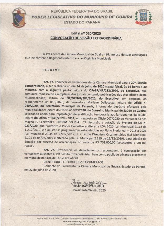 SAIBA O QUE FOI VOTADO NA 20ª SESSÃO EXTRAORDINÁRIA