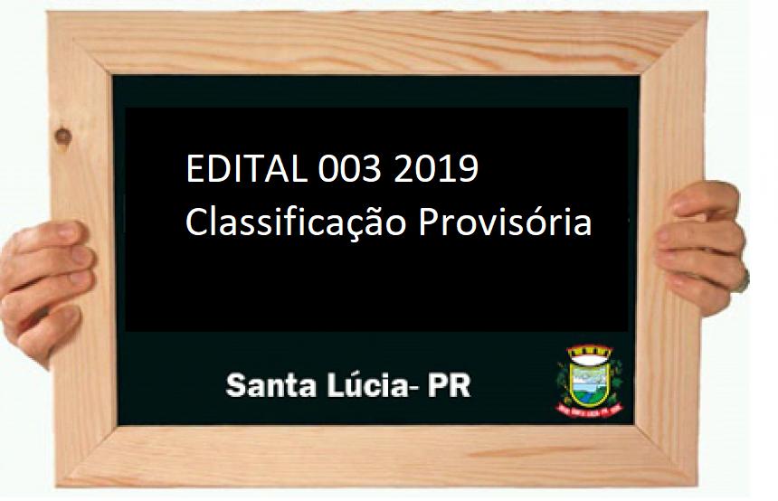 EDITAL 003/2019 classificação provisória