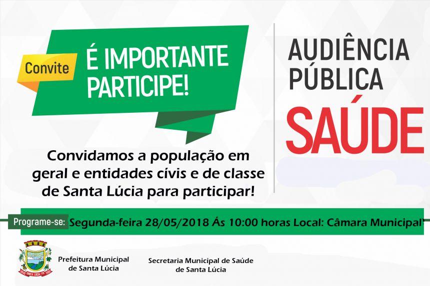 Convite para Audiência Pública da Sec. Municipal de Saúde!