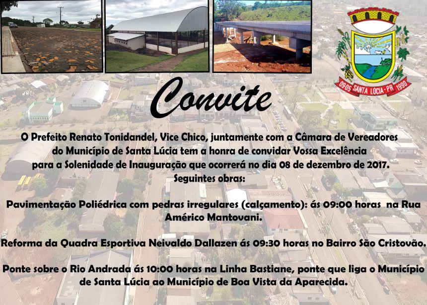 Convite de Inaugurações no Município!