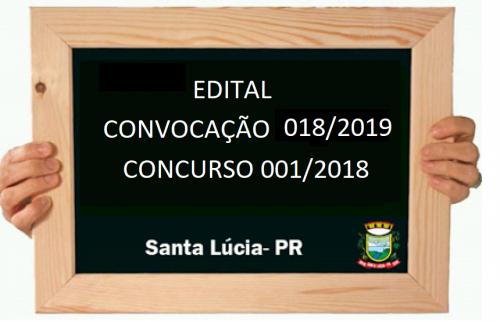 CONCURSO PÚBLICO Nº 001/2018    Edital Nº 018/2019