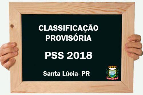 CLASSIFICAÇÃO PROVISÓRIA PSS 2018