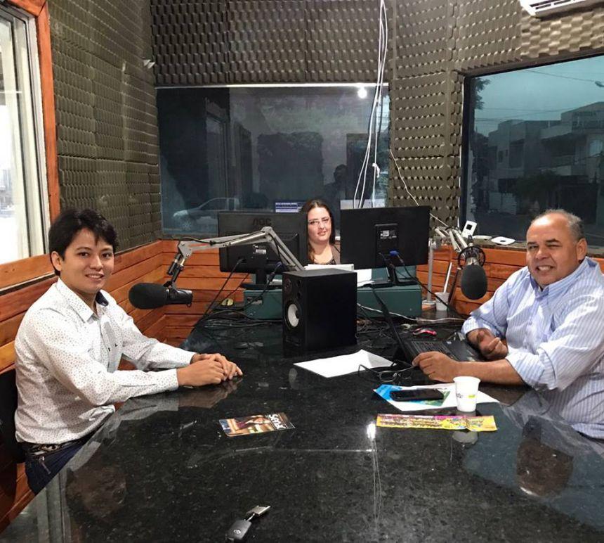 Secretário de Agricultura Hideki Inoue e Secretário de Comunicação Taka, participaram do Programa Brandão Junior - O Repórter