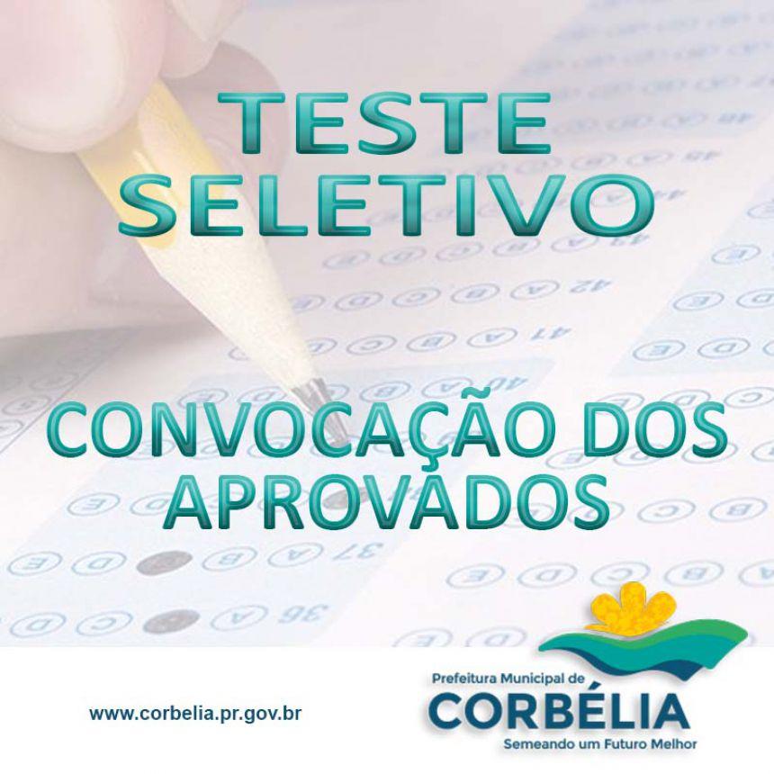 Convocação dos aprovados Teste Seletivo 001/10/2017