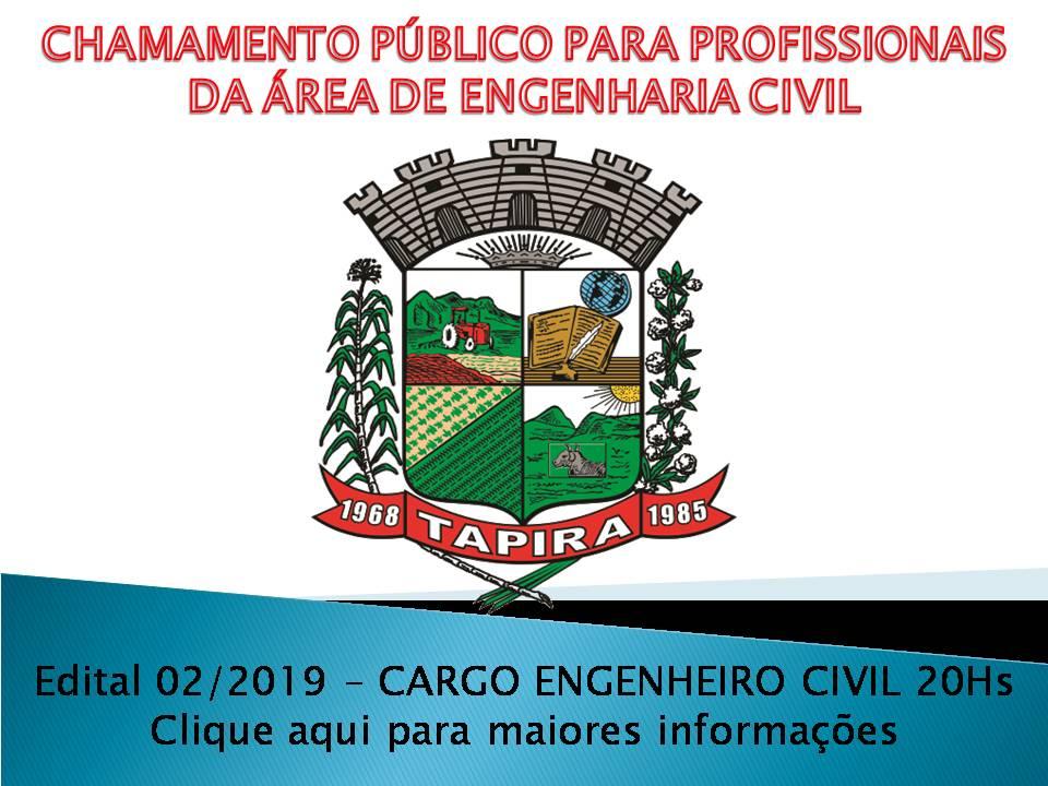 EDITAL DE CHAMAMENTO Nº 02/2019 PARA CREDENCIAMENTO DE ENGENHEIRO CIVIL