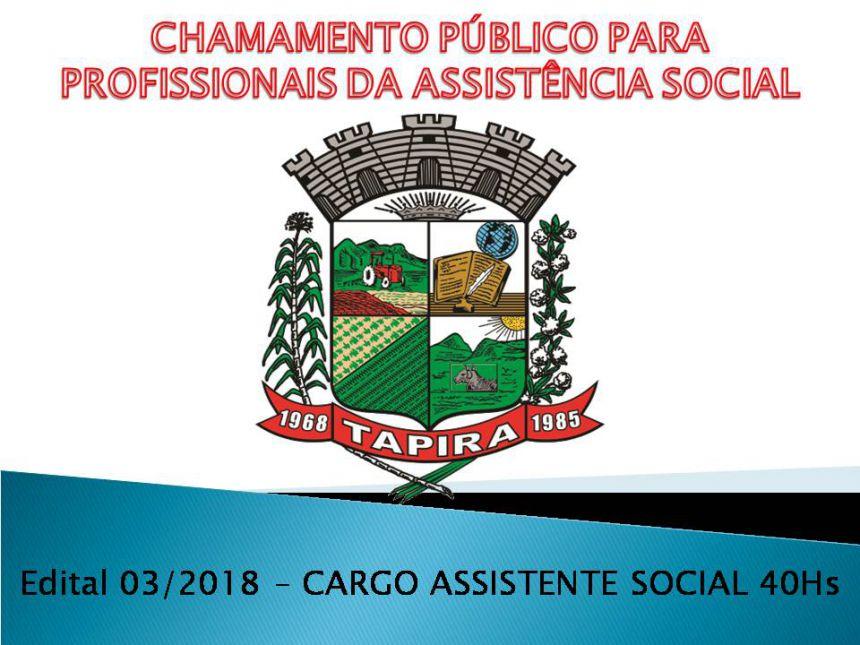 EDITAL DE CHAMAMENTO N 03/2018 PARA CREDENCIAMENTO DE PROFISSIONAIS DA ASSISTENCIA SOCIAL