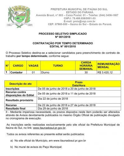 PROCESSO SELETIVO SIMPLIFICADO Nº001/2018