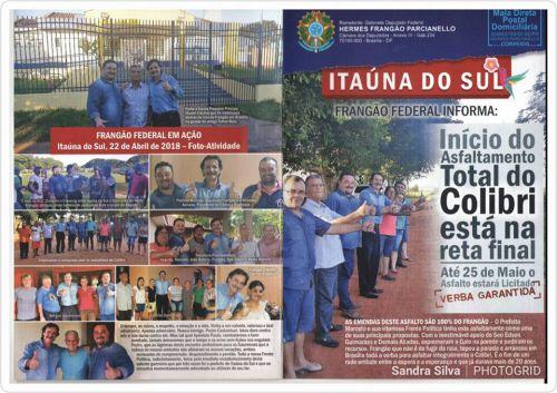 """Deputado Federal Hermes Parcianello """"Frangão"""" esteve no último domingo, 22 de abril, visitando Itaúna do Sul."""