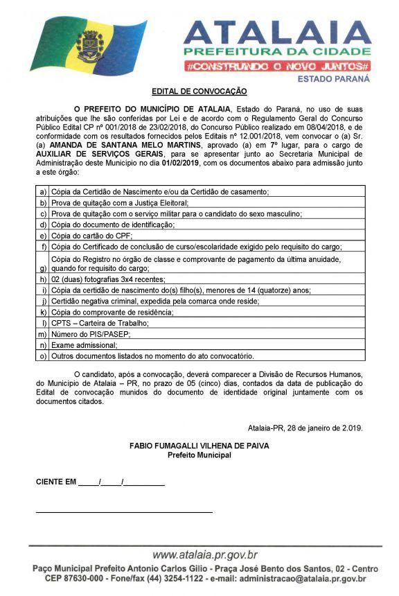 CONVOCAÇÕES CONCURSO PÚBLICO 2018