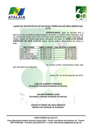 LAUDO DE JUSTIFICATIVA DO VALOR DA TERRA NUA DE ÁREA AGRÍCOLAS