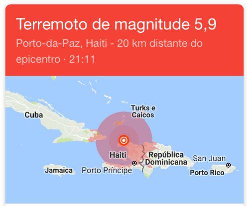 Mapa de localização do terremoto