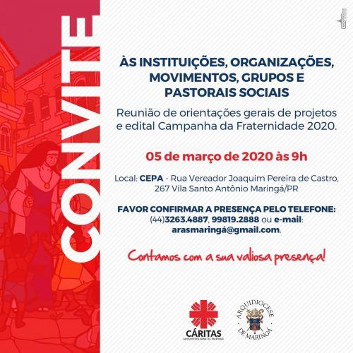Encontro Orientações Gerais de Projetos - Campanha da Fraternidade 2020