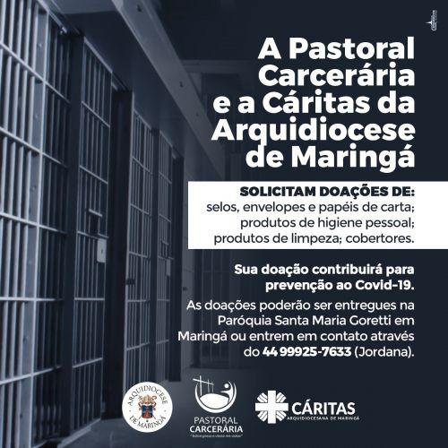 Contribua com Pastoral Carcerária da Arquidiocese de Maringá