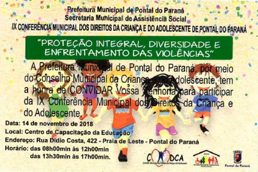 Pontal do Paraná realizará a IX Conferência Municipal dos Direitos da Criança e do Adolescente