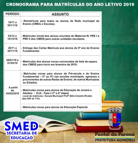 Secretaria da Educação lança cronograma para matrículas do ano letivo 2019