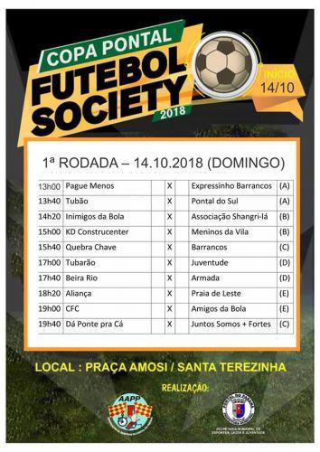 Copa Pontal de Futebol Society começa neste domingo