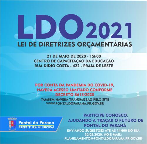 Pontal do Paraná realizará Audiência Pública sobre a Lei de Diretrizes Orçamentárias 2021