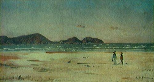 Pitura, óleo sobre tela, Entrada da Barra do Sul, de Alfredo Andersen, mostrando a Ilha do Mel a partir da Praia de Pontal do Sul