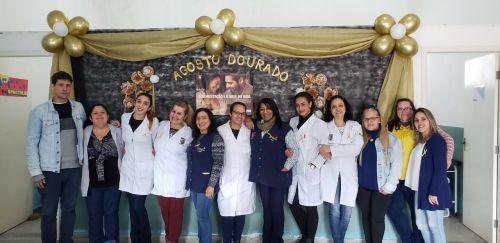 Uma das equipes da secretaria de Saúde que trabalhou nas palestras em Pontal do Paraná