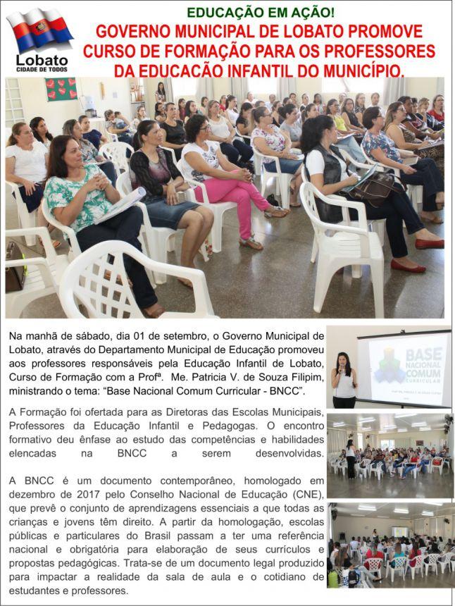 O GOVERNO MUNICIPAL DE LOBATO PROMOVE CURSO DE FORMAÇÃO PARA OS PROFESSORES DA EDUCAÇÃO INFANTIL DO MUNICÍPIO