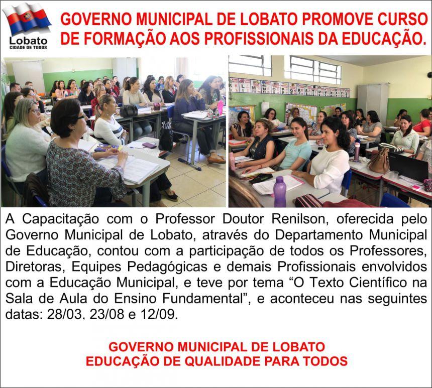 GOVERNO MUNICIPAL DE LOBATO PROMOVE CURSO DE FORMAÇÃO AOS PROFESSORES DA EDUCAÇÃO