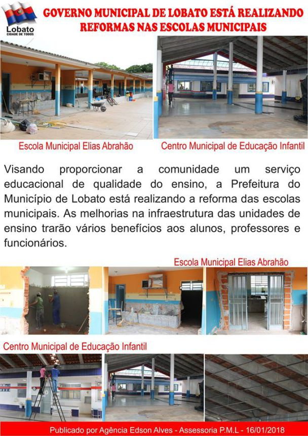 GOVERNO MUNICIPAL DE LOBATO ESTÁ REALIZANDO REFORMAS NAS ESCOLAS MUNICIPAIS
