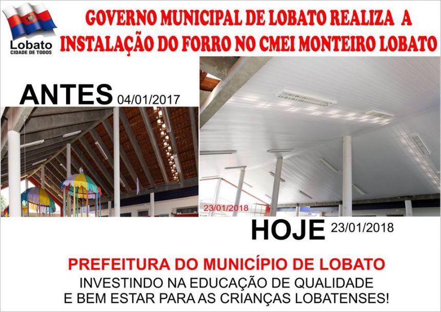 GOVERNO MUNICIPAL DE LOBATO REALIZA A INSTALAÇÃO DO FORRO CMEI MONTEIRO LOBATO