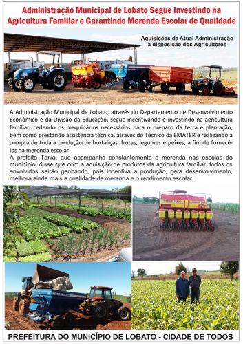 ADMINISTRAÇÃO MUNICIPAL DE LOBATO SEGUE INVESTINDO NA AGRICULTURA FAMILIAR