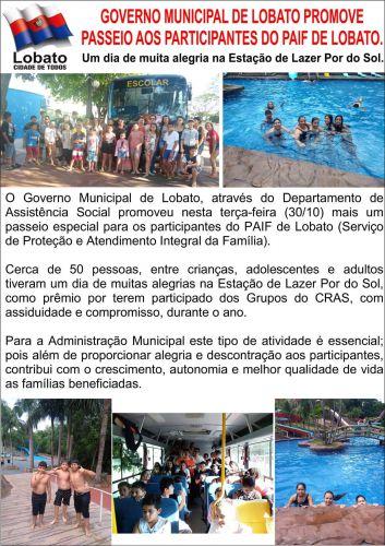 GOVERNO MUNICIPAL DE LOBATO PROMOVE PASSEIO AOS PARTICIPANTES DO PAIF DE LOBATO