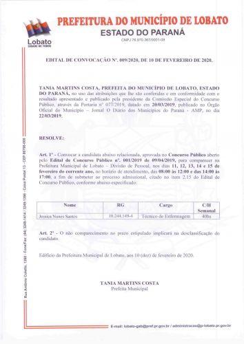 EDITAL DE CONVOCAÇÃO 009/20