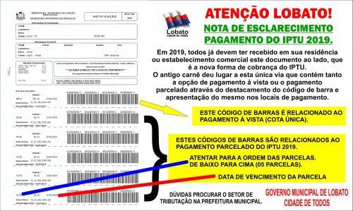 ATENÇÃO LOBATO! NOTA DE ESCLARECIMENTO PAGAMENTO DO IPTU 2019.