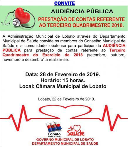 CONVITE. AUDIÊNCIA PÚBLICA - PRESTAÇÃO DE CONTAS REFERENTE AO TERCEIRO QUADRIMESTRE 2018