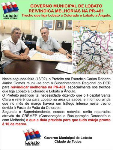 GOVERNO MUNICIPAL DE LOBATO REIVINDICA MELHORIAS NA PR-461.